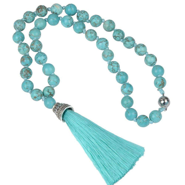 Natural Aqua Turquoise with silk tassel necklace - G x G Collective