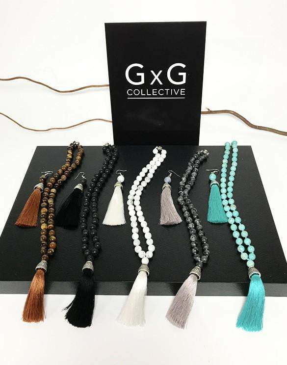 Natural Black Onyx with silk tassel necklace - G x G Collective