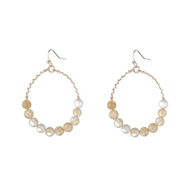 Nicole semi-precious amazonite hoop earrings - Peach - G x G Collective