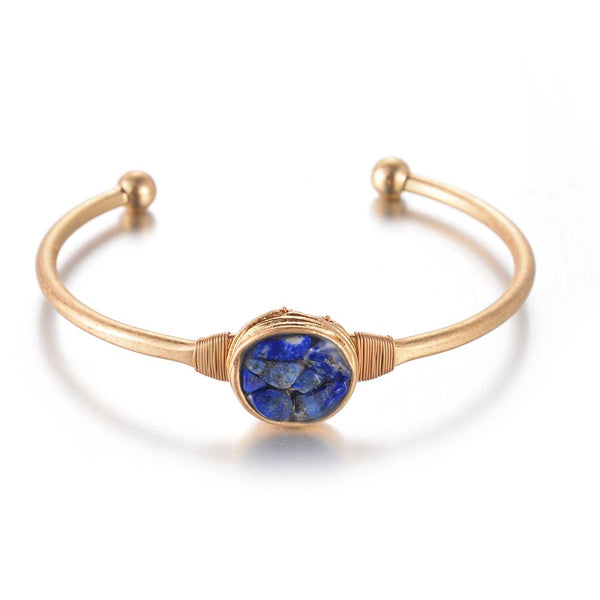 Patrice Brass Semi precious stone bangle