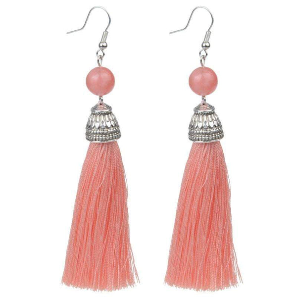 Peach  Tassel & Lava Stone Earrings - G x G Collective