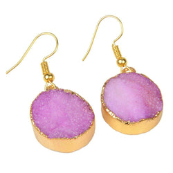 Pink Natural Quartz 18kt Gold Plated Earrings - G x G Collective