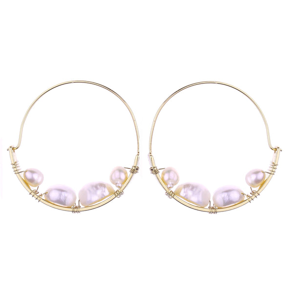 Raeleigh Freshwater Pearl Hoop Earrings