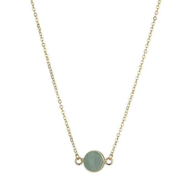 Sally Natural Stone Necklace - Pale Green (jade) - G x G Collective