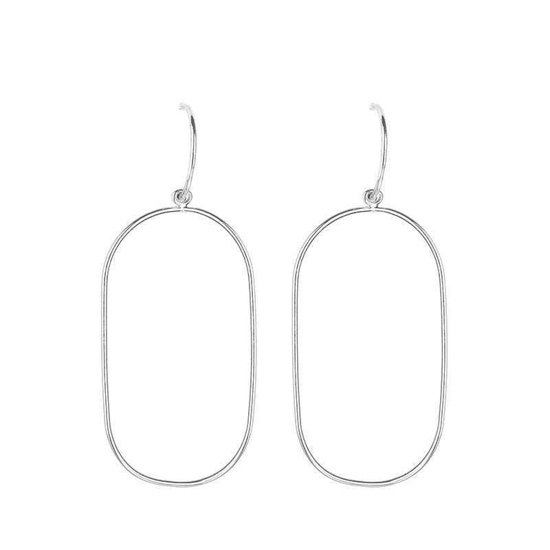Samantha rectangle shaped hoop earrings - Avail in Silver & Gold - G x G Collective