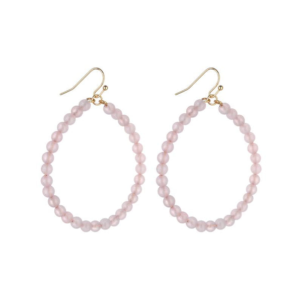 Shanny Medium Hoop Natural Stone Earrings -  Avail in Amazonite and Rose Quartz