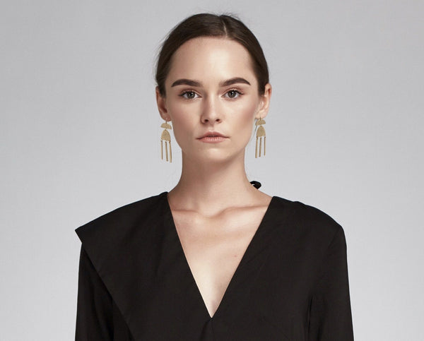 Sharon Gold Statement Earrings