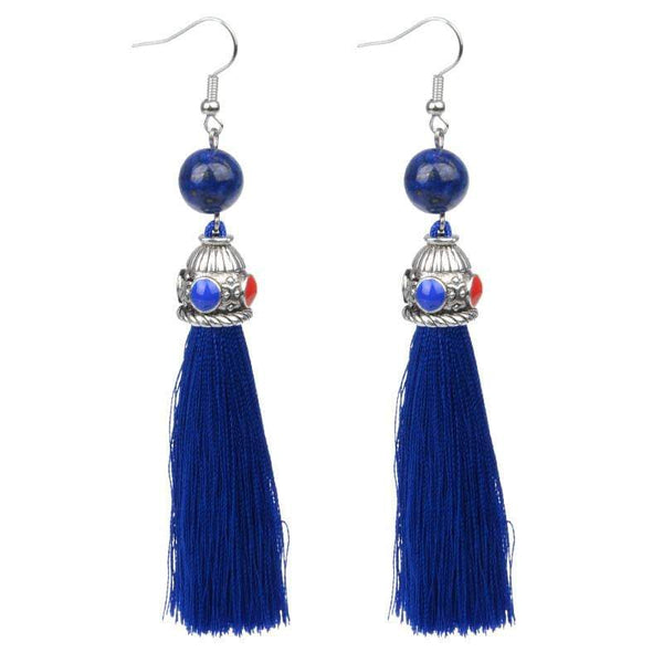 Silk Blue Tassel & Lava Stone Earrings - G x G Collective