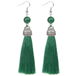 Silk Green Tassel & Lava Stone Earrings (No stone) - G x G Collective