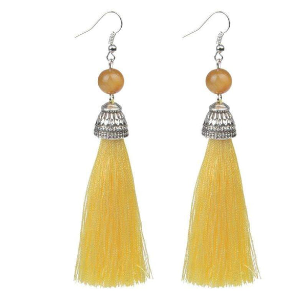 Silk Pale Yellow Tassel & Lava Stone Earrings - G x G Collective