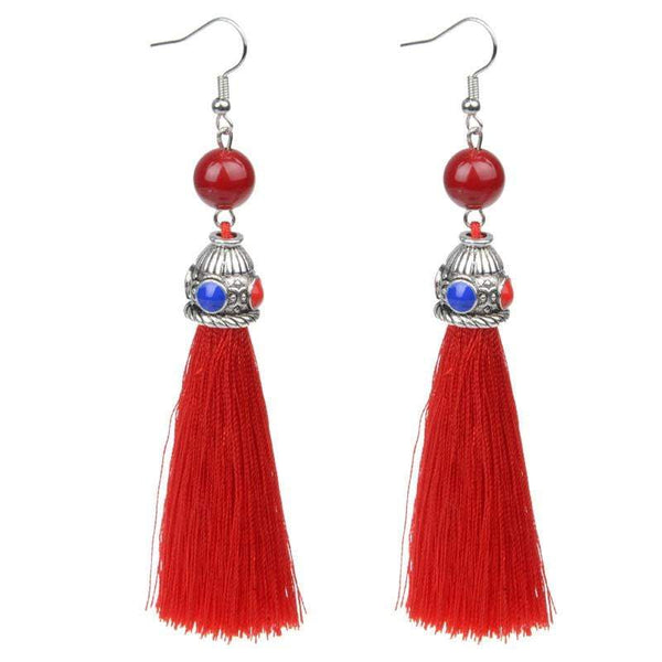 Silk Red Tassel & Lava Stone Earrings (no red and white stones) - G x G Collective