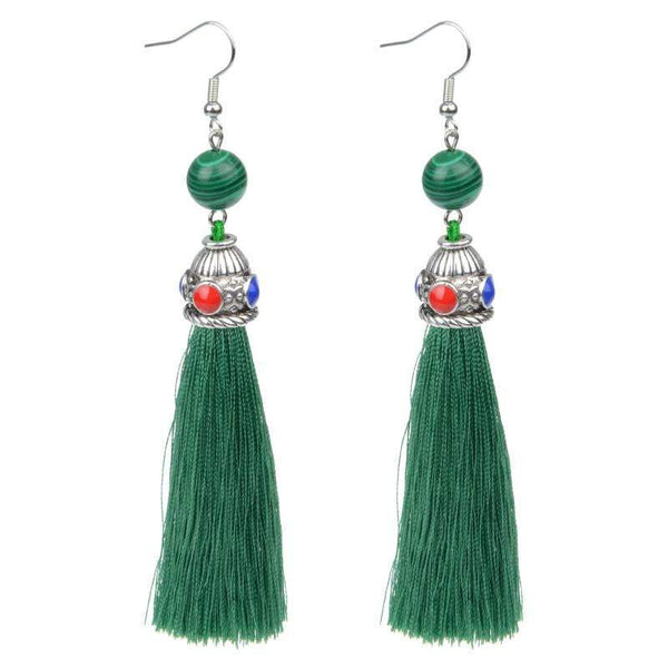 Silk Tassel Earrings with malachite - G x G Collective
