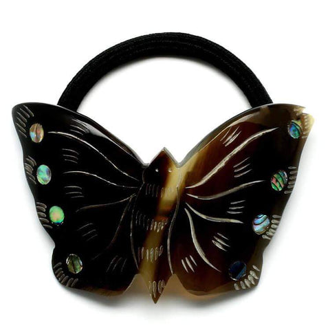 Small Tortoise Shell Coloured Butterfly Horn Pony Tail Holder - G x G Collective
