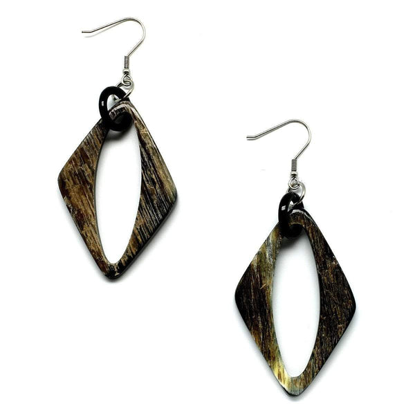 Tiger striped diamond shaped open earrings - G x G Collective