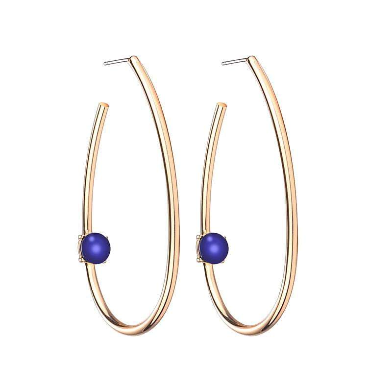 Tina Large Oval Brass Earrings with natural stone - Blue - G x G Collective