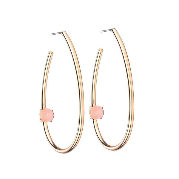 Tina Large Oval Brass Earrings with natural stone - Pink - G x G Collective