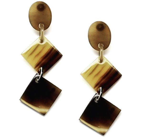 Tortoise Shell horn Brown Diamond Shaped Earrings - G x G Collective