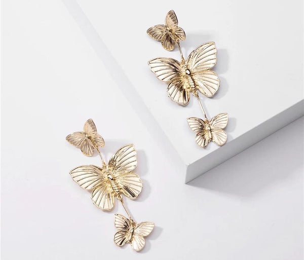 Trish Gold Butterfly Statement Earrings