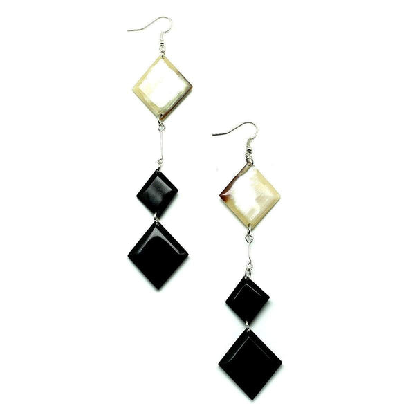 Two Tone Diamond Horn Dangle Earrings - G x G Collective