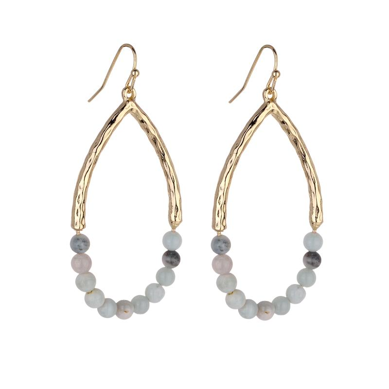 Ursula natural stone earrings - Avail in Amazonite and Rose Quartz