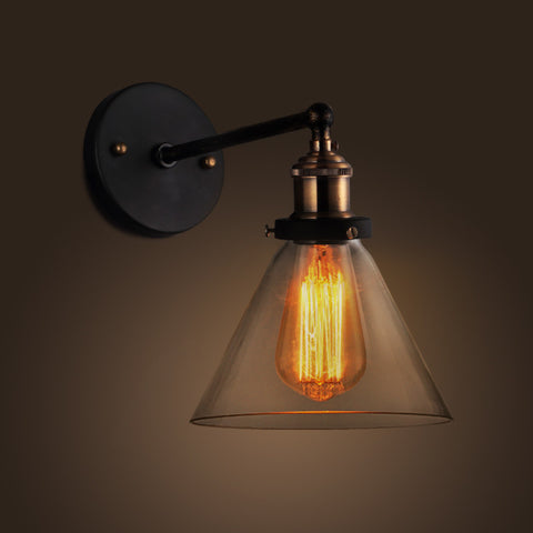 Steampunk industrial wall lights for sale usa rusty lamp creations glass cone wall sconce industrial style aloadofball Image collections