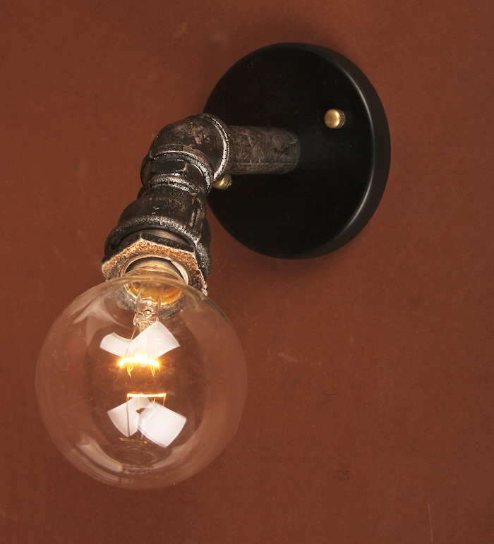 Industrial steampunk wall sconce - Rusty Lamp Creations