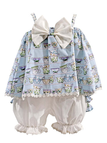 Alicia blue tunic & bloomers set 2pcs