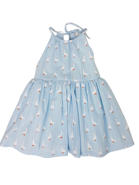 Lucky Duck blue -Dress for babies