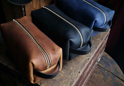 Leather Dopp Kit Travel Bags