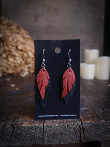 Feather Earrings - Orange and Black - Hammerthreads