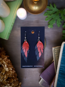 Feather Earrings - Orange and Black