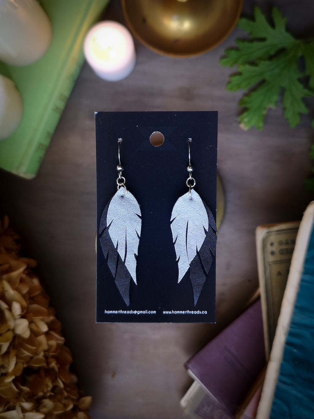 Feather Earrings - Silver and Black - Hammerthreads