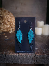 Load image into Gallery viewer, Feather Earrings - Turquoise and Black