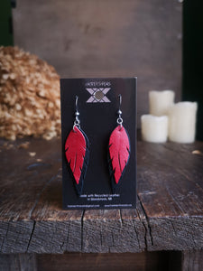 Feather Earrings - Cherry Red and Black