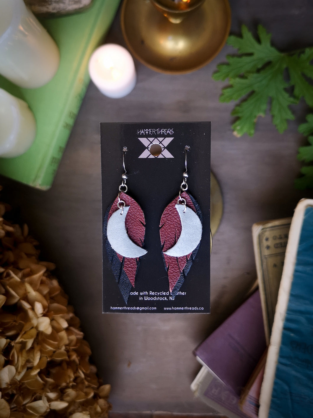 Moon Feather Earrings - Maroon and Black