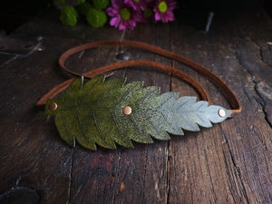 Leather Fern Headband