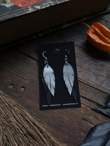 Feather Earrings - Silver and Black