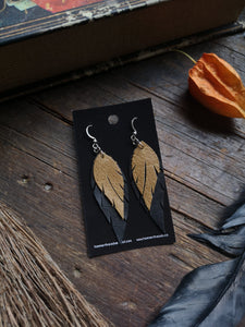 Feather Earrings - Camel and Black