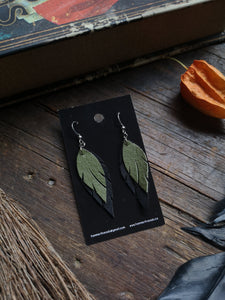 Feather Earrings - Light Green and Black