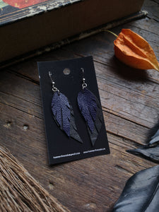 Feather Earrings - Dark Purple and Black
