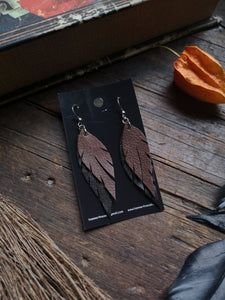 Feather Earrings - Brown and Black