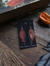 Load image into Gallery viewer, Feather Earrings - Rust and Black