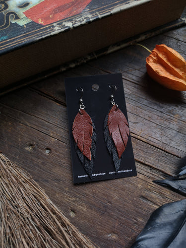 Feather Earrings - Rust and Black