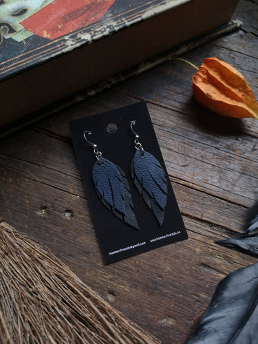 Feather Earrings - Navy and Black