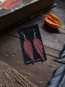 Feather Earrings - Wine and Black