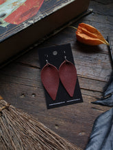 Load image into Gallery viewer, Pinched Leaf Earrings - Large - Maroon - Hammerthreads