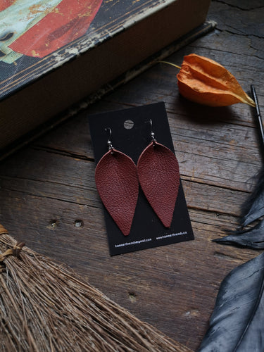 Pinched Leaf Earrings - Large - Maroon