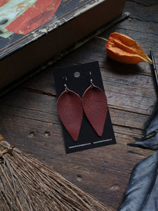Pinched Leaf Earrings - Large - Maroon - Hammerthreads