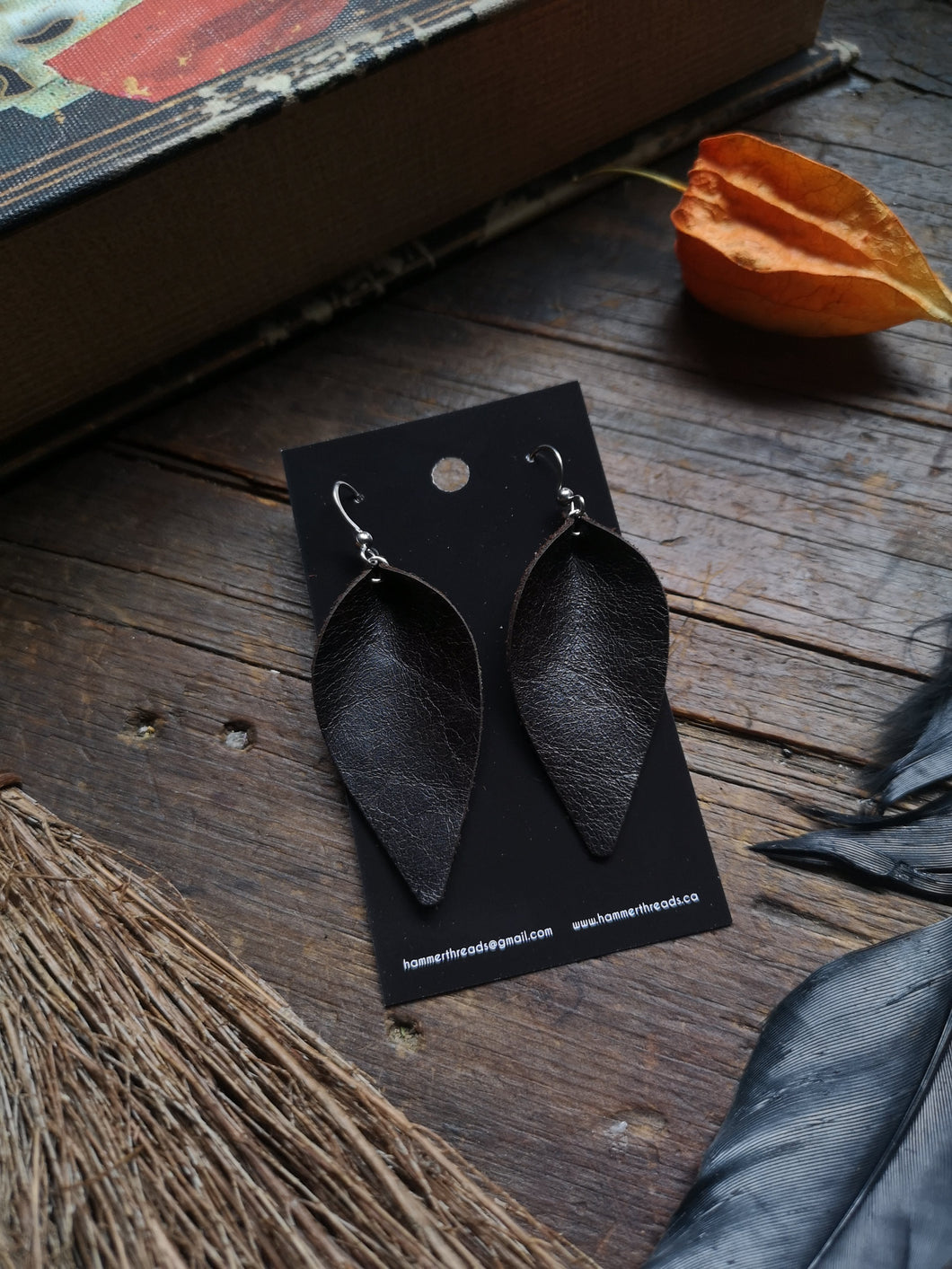 Pinched Leaf Earrings - Large - Dark Chocolate - Hammerthreads