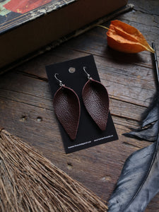 Pinched Leaf Earrings - Large - Chocolate